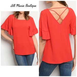 Red elbow length ruffle sleeve top NWT